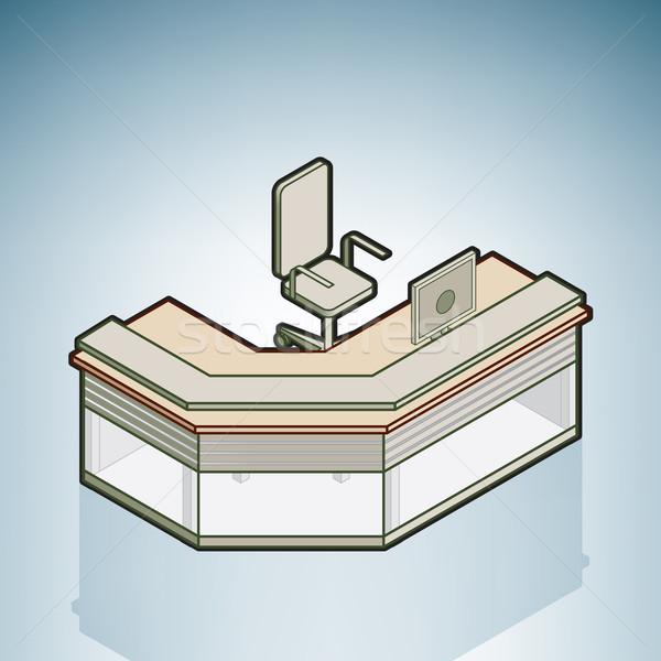 Bureau réception bureau modernes meubles isométrique Photo stock © Vectorminator