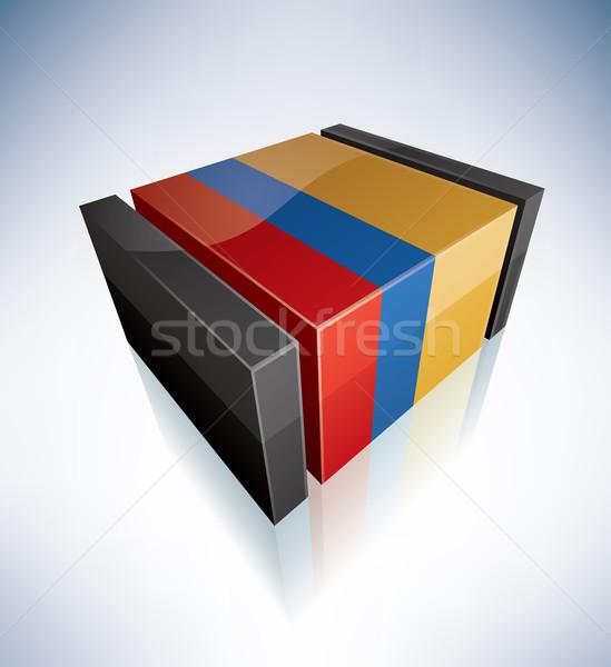 3D bayrak Kolombiya güney amerika cumhuriyet bayraklar Stok fotoğraf © Vectorminator