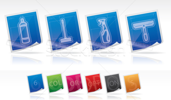 Takarítás készülékek helyes fehérítő üveg ecset Stock fotó © Vectorminator