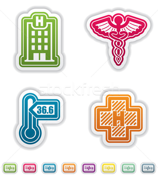 Gezondheidszorg iconen 22 Blauw Stockfoto © Vectorminator