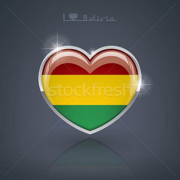 Bolívia fényes szív alak zászlók szív mű Stock fotó © Vectorminator
