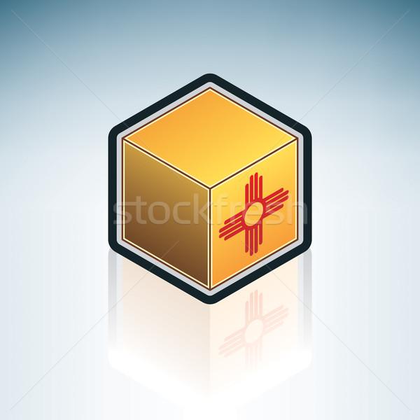 Нью-Мексико флагами куб объект Сток-фото © Vectorminator