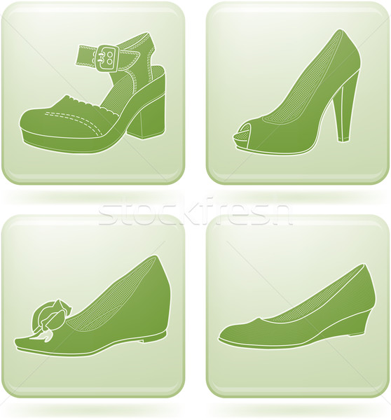 Olivine Square 2D Icons Set: Woman's Shoes Stock photo © Vectorminator