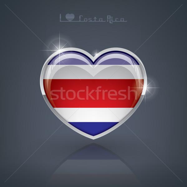 Costa Rica forma de corazón banderas república corazón Foto stock © Vectorminator