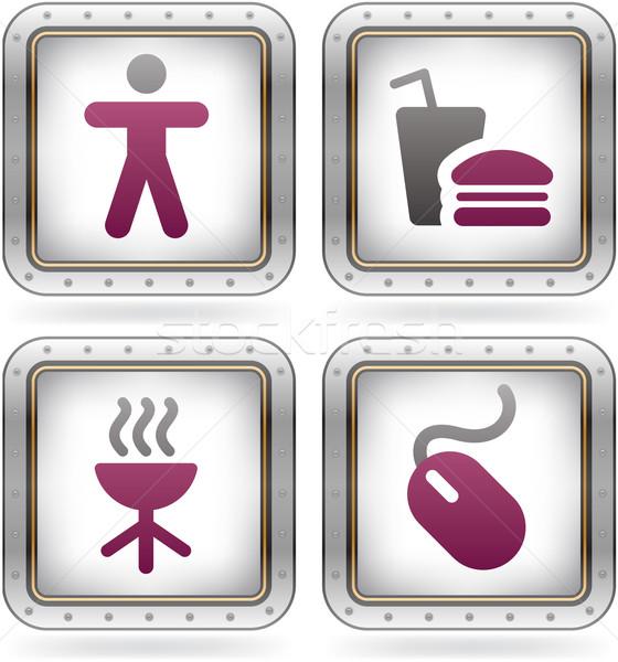 Internet pictogrammen man grill muis kleuren Stockfoto © Vectorminator