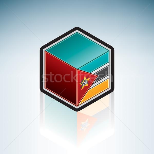 Moçambique África bandeira república 3D isométrica Foto stock © Vectorminator