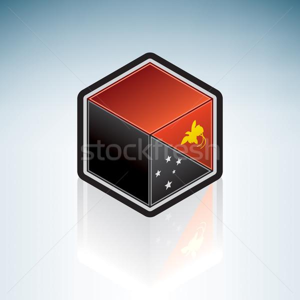 Папуа-Новая Гвинея флаг независимый 3D изометрический стиль Сток-фото © Vectorminator