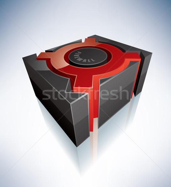 3D podpisania firewall zielone symbol alfabet Zdjęcia stock © Vectorminator