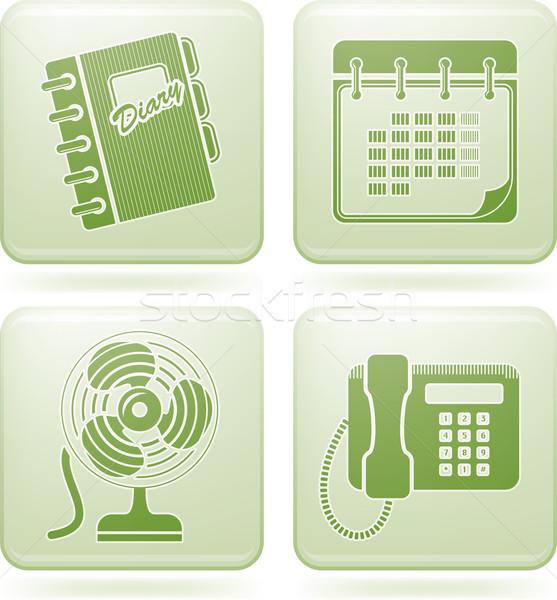 Stock photo: Olivine Square 2D Icons Set