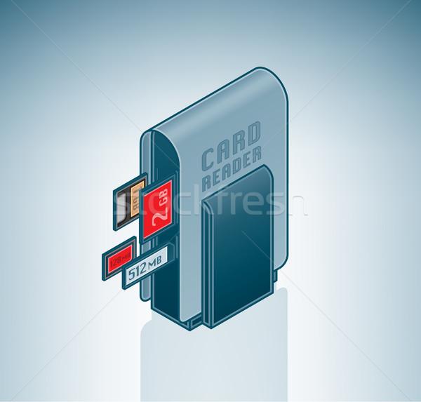 Hordozható kártya olvasó izometrikus 3D számítógép Stock fotó © Vectorminator
