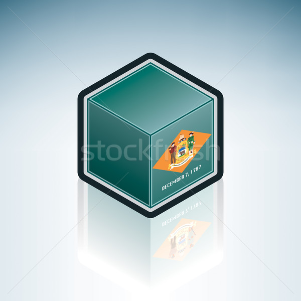 Delaware bayrak Amerika Birleşik Devletleri Amerika 3D izometrik Stok fotoğraf © Vectorminator