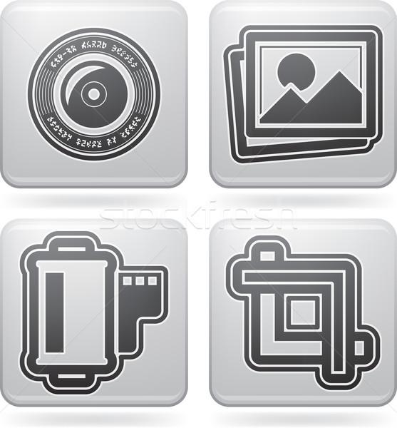 Fotózás ikon szett szerszámok felszerlés itt helyes Stock fotó © Vectorminator