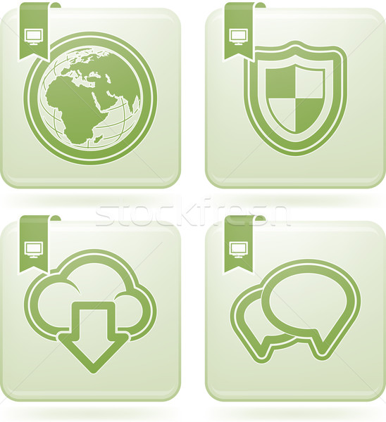 Iconos de la web los iconos de internet aquí mundo antivirus Foto stock © Vectorminator