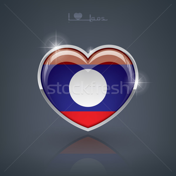 Laos forme de coeur drapeaux peuples démocratique Photo stock © Vectorminator