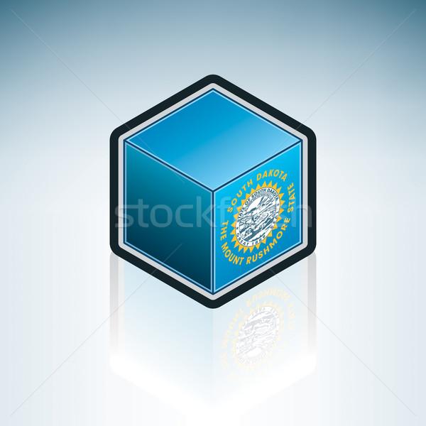Güney Dakota bayrak Amerika Birleşik Devletleri Amerika 3D izometrik Stok fotoğraf © Vectorminator