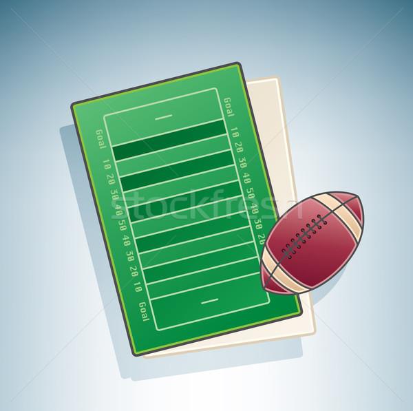 Stock fotó: Amerikai · futballpálya · 3D · izometrikus · tárgyak · ikon · szett