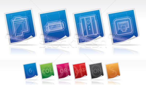 コンピュータ ここで 右 インクジェット ストックフォト © Vectorminator