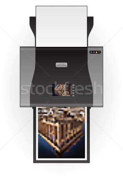 Mürekkep püskürtmeli yazıcı ev renk fotoğraf üst Stok fotoğraf © Vectorminator