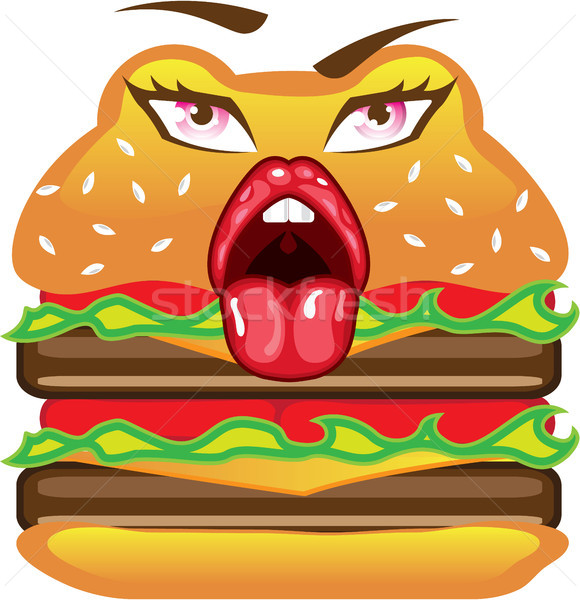 Double hamburger with a face vector illustration clip-art  Stock photo © vectorworks51