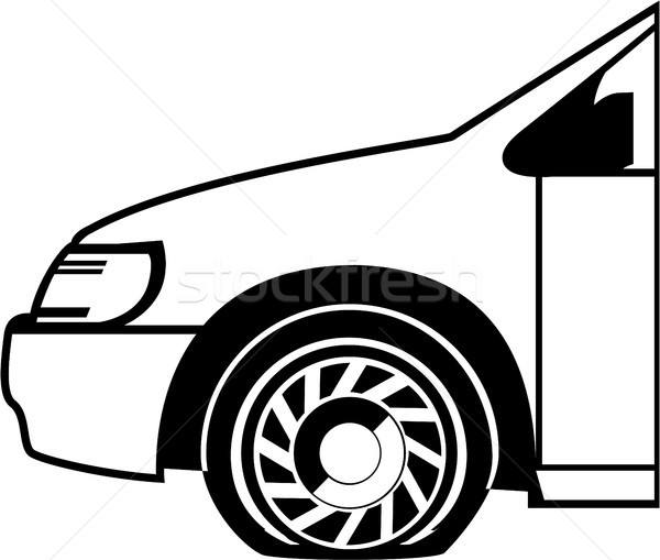 Flat Tire Black And White Vector Illustration Clip Art Image Vector