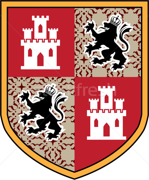 Coat of Arms Castle Lions vector shield Stock photo © vectorworks51