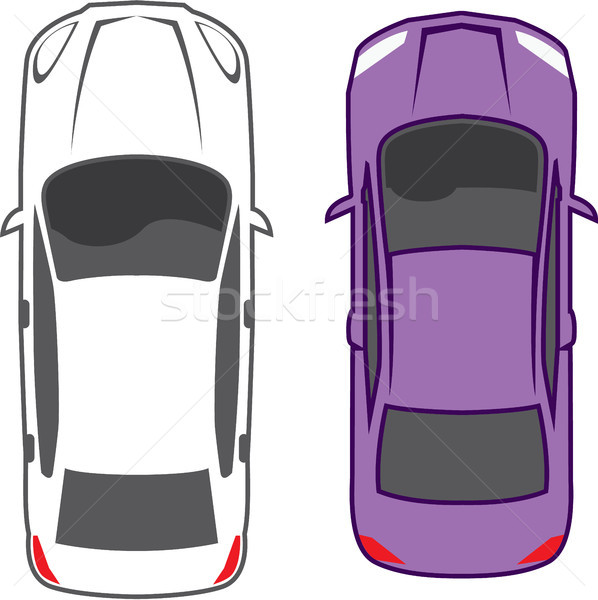 Cars birds eye view top view vector image Stock photo © vectorworks51