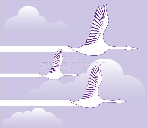 Geese flying formation vector illustration clip-art Stock photo © vectorworks51