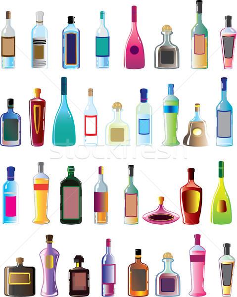 Alapvető vektor alkohol üvegek édes sapka Stock fotó © vectorworks51