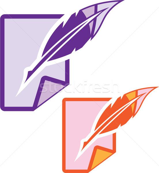 Pluma pluma clipart imagen signo carta Foto stock © vectorworks51