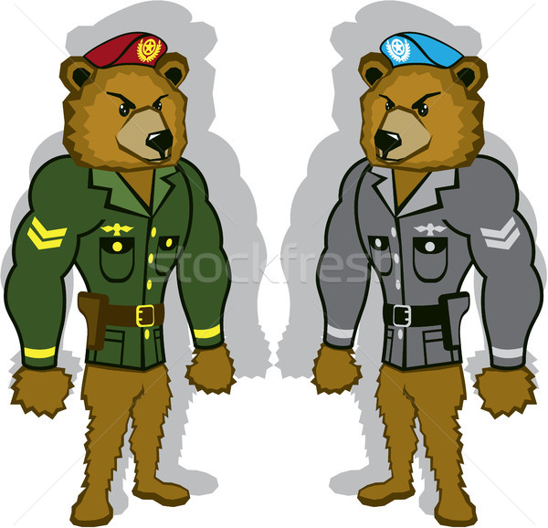 Bear soldier vector illustration clip-art image Stock photo © vectorworks51