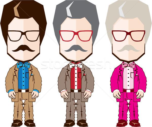 ビッグ 頭 教授 クリップアート 画像 スーツ ストックフォト © vectorworks51