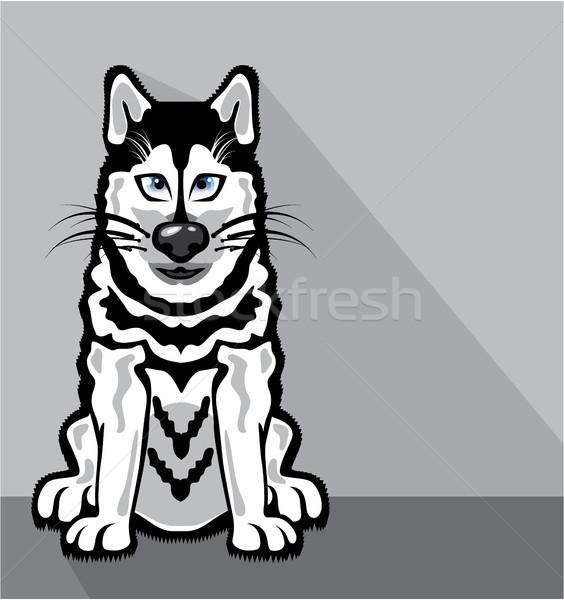 Alasca cão desenho animado imagem olhos branco Foto stock © vectorworks51