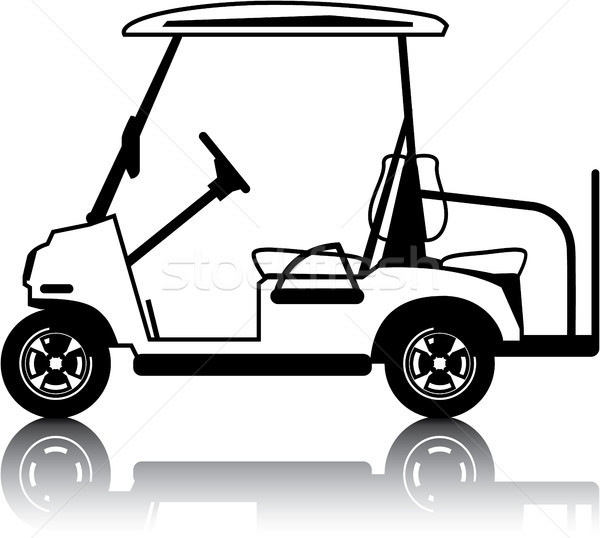 White golf cart vehicle clip-art vector image Stock photo © vectorworks51