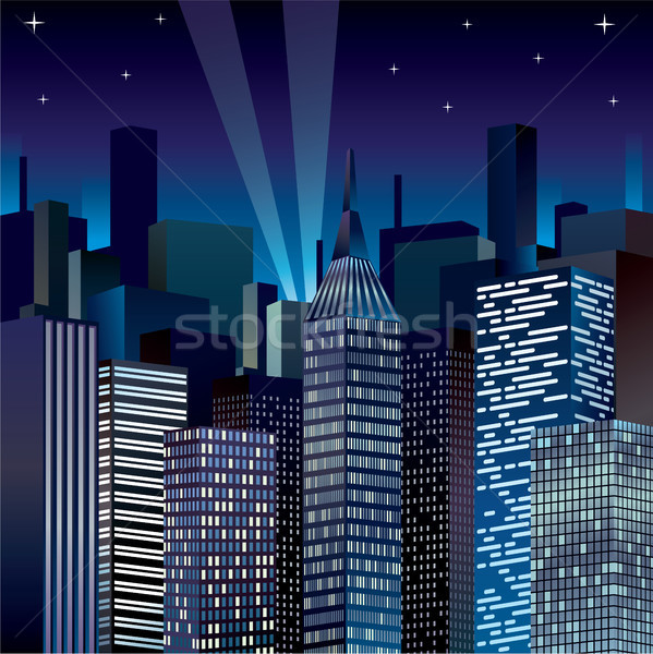 Noche paisaje urbano clipart imagen fondo edificios Foto stock © vectorworks51