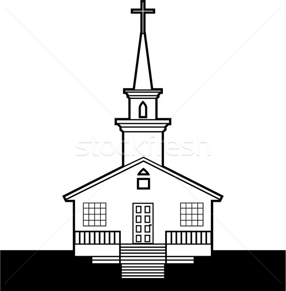 Black and white church vector clip-art image Stock photo © vectorworks51