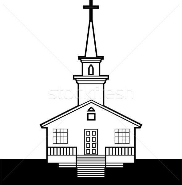 Blanc noir église vecteur image bâtiment Photo stock © vectorworks51