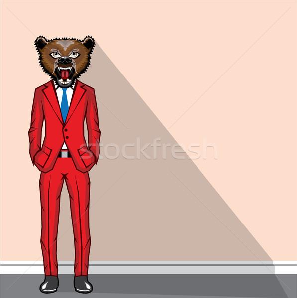 Medve férfi clipart eps kép iroda Stock fotó © vectorworks51