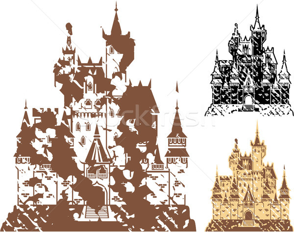 Grunge kastély clipart kép terv fekete Stock fotó © vectorworks51