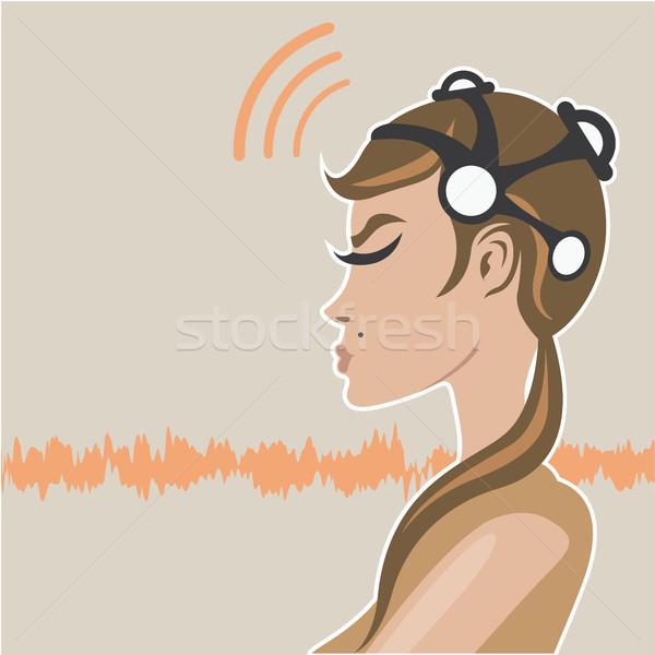 ヘッド 画像 科学 脳 通信 波 ストックフォト © vectorworks51