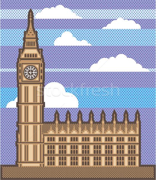 Clock torre clipart immagine costruzione viaggio Foto d'archivio © vectorworks51