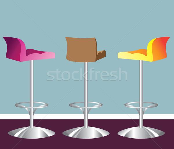Magas bár zsámoly fényes szék kávézó Stock fotó © vectorworks51