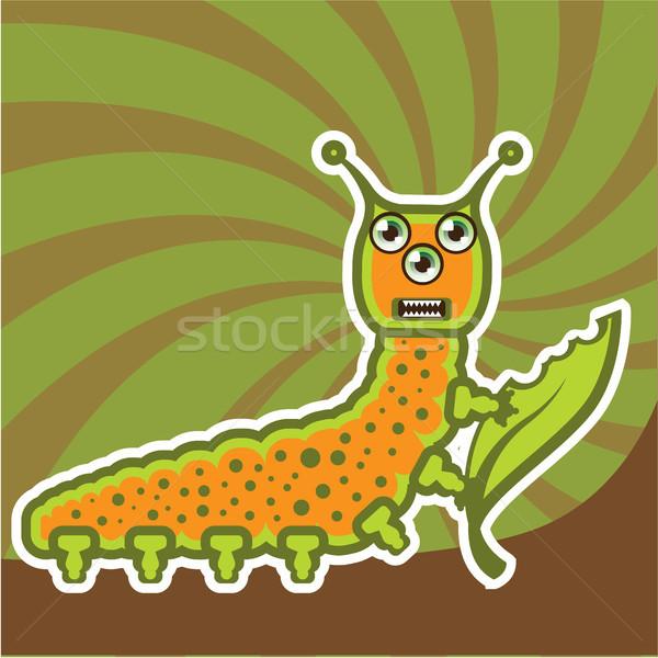 Caterpillar Cartoon clipart изображение улыбка счастливым Сток-фото © vectorworks51