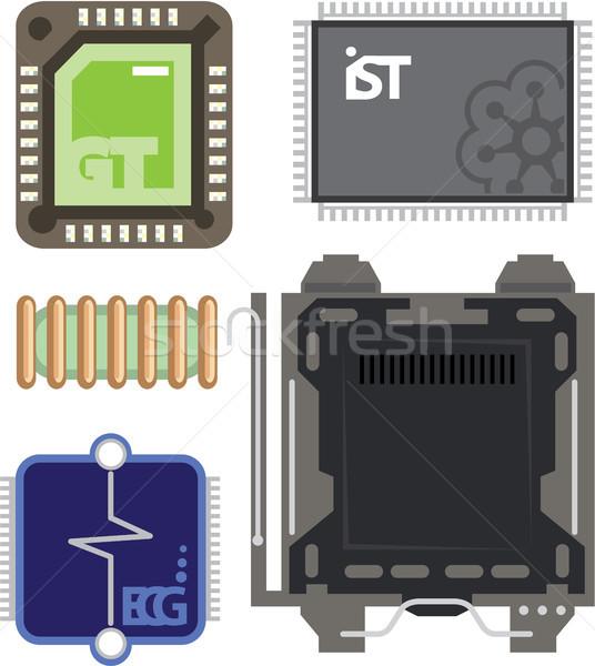 Computer communie clipart afbeelding ontwerp technologie Stockfoto © vectorworks51