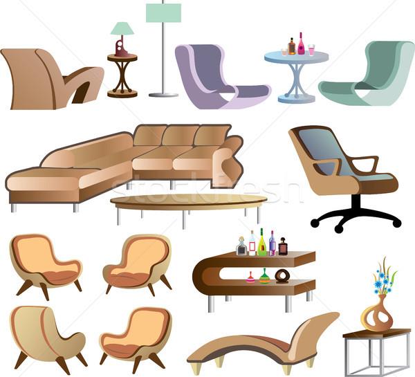 家具 コレクション セット ベクトル コーヒー 革 ストックフォト © vectorworks51