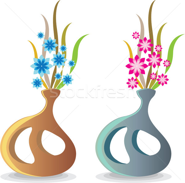 Modern unique vase with flowers vector illustration Stock photo © vectorworks51