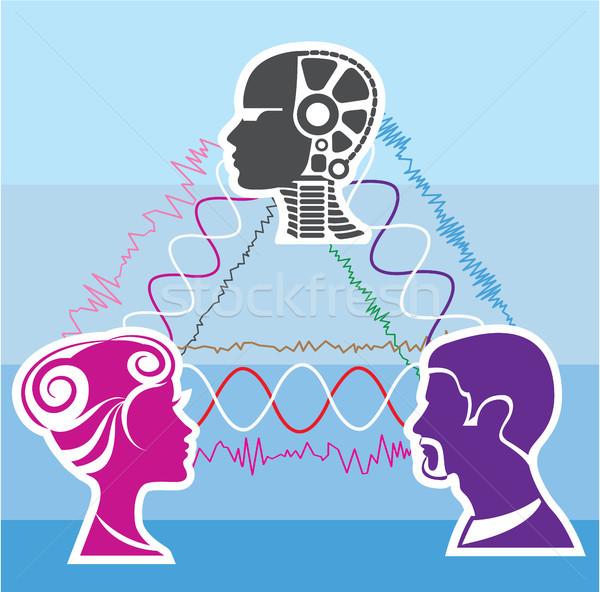 Technologie hersenen macht vrouwelijke persoon Stockfoto © vectorworks51
