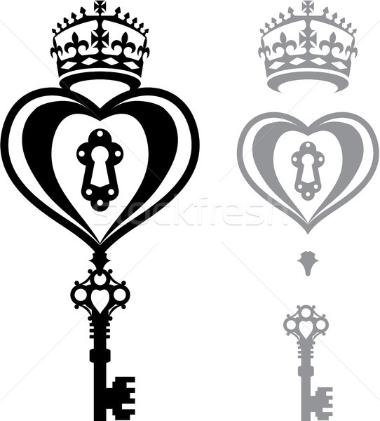 Heart with a crown vector illustration black and white image Stock photo © vectorworks51