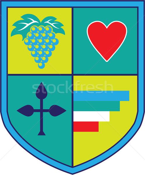 Casaco brasão uvas coração escudo verde Foto stock © vectorworks51