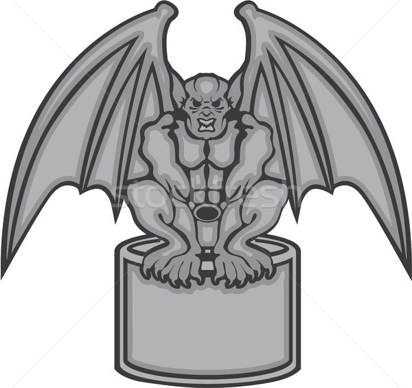 Gargoyle stone statue vector illustration clip-art Stock photo © vectorworks51