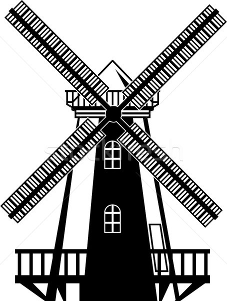 Wind mill vector illustration clip-art black and white image Stock photo © vectorworks51
